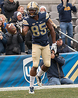 Pitt wide receiver Jester Weah celebrates his 59-yard touchdown catch. The Pitt Panthers defeated the Syracuse Orange 76-61 at Heinz Field in Pittsburgh, Pennsylvania on November 26, 2016.
