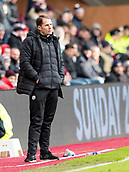 17th March 2018, Tynecastle Park, Edinburgh, Scotland; Scottish Premier League football, Heart of Midlothian versus Partick Thistle;  Alan Archibald manager of Partick Thistle on the touchline