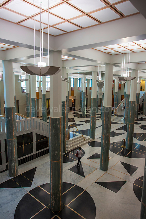 Foyer of Parliament House, Canberra, Australia. The building was designed by Mitchell - Giurgola & Thorp Architects and built by a Concrete Constructions and John Holland joint venture. It was opened on 9 May 1988 by Elizabeth II, Queen of Australia.