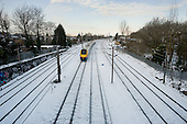 Intercity train following a snowfall, Cricklewood, London.
