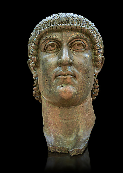 Roman gilded bronze head of Emperor Constantine dating from about 330-337 AD.. Inv 5.13, The Capitoline Museums, Rome