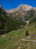 Hochimst Obermarkter Alm Blick auf Mutterkopf, Lechtaler Alpen, Imst, Tirol, &Ouml;sterreich, Europa<br /> Obermarkter Alm,, Hochimst, Imst, Tyrol, Austria, Europe