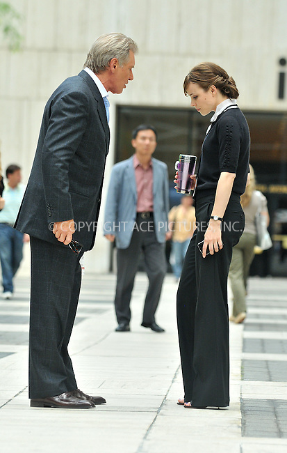 WWW.ACEPIXS.COM . . . . .  ....June 23 2009, New York City....Actors Harrison Ford and Rachel McAdams on the set of the new movie 'Morning Glory' on June 23 2009 in New York City....Please byline: AJ Sokalner - ACEPIXS.COM..... *** ***..Ace Pictures, Inc:  ..tel: (212) 243 8787..e-mail: info@acepixs.com..web: http://www.acepixs.com