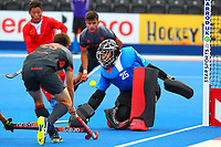 China's goalkeeper Ming Cheng saves from Netherlands Thierry Brinkman during the Hockey World League Quarter-Final match between Netherlands and China at the Olympic Park, London, England on 22 June 2017. Photo by Steve McCarthy.<br /> <br /> Netherlands v China at the Olympic Park, London, England on 22 June 2017. Photo by Steve McCarthy.