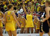 10.07.2011 Australia's Sharni Layton celebrates during the final netball match between the Silver Ferns v Australia at the Mission Foods World Netball Championship 2011 held at the Singapore Indoor Stadium in Singapore . Mandatory Photo Credit ©Michael Bradley.