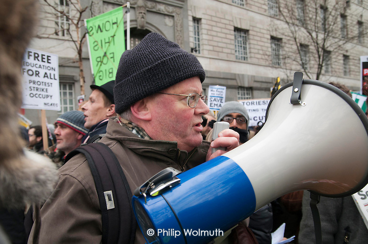 Alan Whittaker, UCU President, speaks as students demonstrate in London against tuition fees and cuts in Educational Maintenance Allowance.