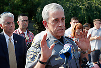 Alexandria, Va. Police Chief Michael Brown speaks about the shooting in Alexandria, Va.,  Wednesday, June 14, 2017, where House Majority Whip Steve Scalise of La. was shot at a Congressional baseball practice. (AP Photo/Alex Brandon)