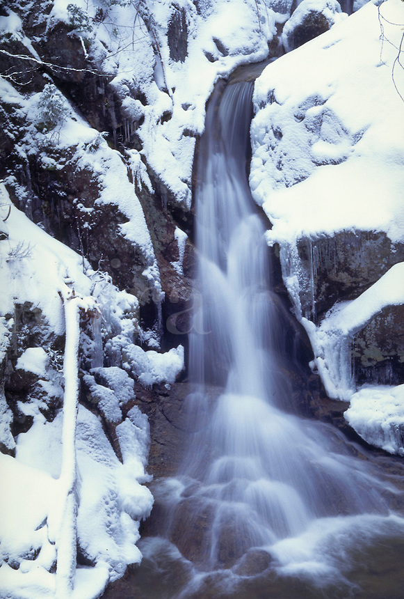 Snowy waterfall in NH's Crawford Notch. On Fujichrome Provia 100. Crawford Notch NH USA White Mountains.
