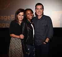 """LOS ANGELES - JANUARY 9: Executive Producer Liz Heldens, Saniyya Sidney, and author Justin Cronin attend an advanced screening and Q&A of FOX's """"The Passage"""" at the AMC Century City 15 on January 9, 2019, in Los Angeles, California. (Photo by Frank Micelotta/Fox/PictureGroup)"""