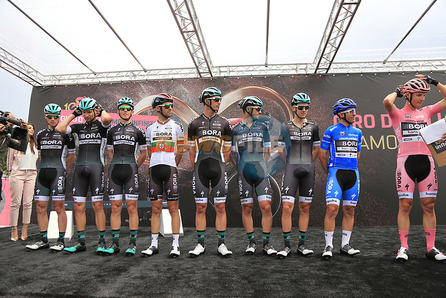 Bora-Hansgrohe team at sign on before Stage 2 of the 100th edition of the Giro d'Italia 2017, running 221km from Olbia to Tortoli, Sardinia, Italy. 6th May 2017.<br /> Picture: Ann Clarke | Cyclefile<br /> <br /> <br /> All photos usage must carry mandatory copyright credit (&copy; Cyclefile | Ann Clarke)