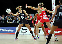 27.08.2016 Silver Ferns Phoenix Karaka in action during the Netball Quad Series match between teh Silver Ferns and England at Vector Arena in Auckland. Mandatory Photo Credit ©Michael Bradley.