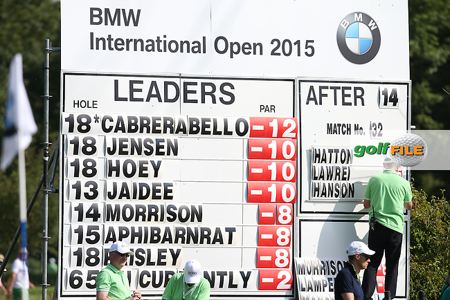 The leaderboard during Round Two of the 2015 BMW International Open at Golfclub Munchen Eichenried, Eichenried, Munich, Germany. 26/06/2015. Picture David Lloyd | www.golffile.ie