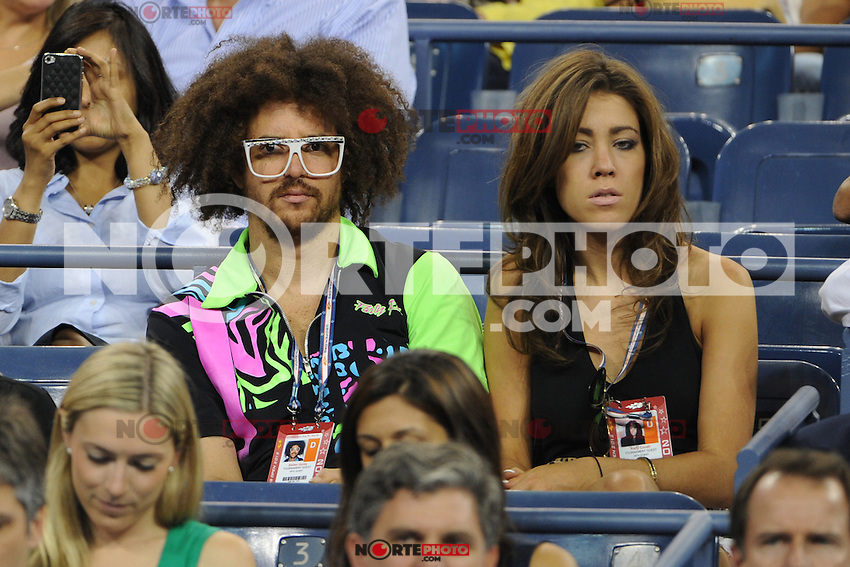 August 29, 2012: Stefan Kendal Gordy, aka Redfoo of LMFAO watching the Maria Sharapova match at Arthur Ashe Stadium at the USTA Billie Jean King National Tennis Center in New York City. ..&copy; mpi04 / Mediapunchinc /NortePhoto.com<br />