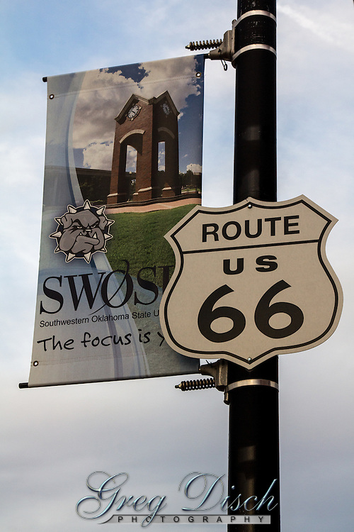 Route 66 signs mark the road thru downtown Weatherford Oklahoma.