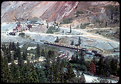 Gondolas loaded with crushed rock at Monarch mine.<br /> D&amp;RGW  Monarch, CO