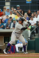 Winston-Salem Dash 2nd baseman Carlos Sanchez #13 at bat during a game against the Myrtle Beach Pelicans at Tickerreturn.com Field at Pelicans Ballpark on April 16, 2012 in Myrtle Beach, South Carolina. Myrtle Beach defeated Winston Salem by the score of 2-0. (Robert Gurganus/Four Seam Images)