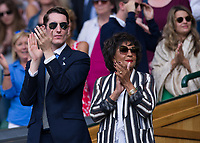 Dame Shirley Bassey at Centre Court<br /> <br /> Photographer Ashley Western/CameraSport<br /> <br /> Wimbledon Lawn Tennis Championships - Day 10 - Thursday 13th July 2017 -  All England Lawn Tennis and Croquet Club - Wimbledon - London - England<br /> <br /> World Copyright &not;&copy; 2017 CameraSport. All rights reserved. 43 Linden Ave. Countesthorpe. Leicester. England. LE8 5PG - Tel: +44 (0) 116 277 4147 - admin@camerasport.com - www.camerasport.com