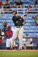 Akron RubberDucks second baseman Mark Mathias at bat during a game against the Binghamton Rumble Ponies on May 12, 2017 at NYSEG Stadium in Binghamton, New York.  Akron defeated Binghamton 5-1.  (Mike Janes/Four Seam Images)