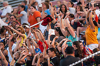Sky Blue FC fans do the wave. Sky Blue FC defeated the Boston Breakers 5-1 during a National Women's Soccer League (NWSL) match at Yurcak Field in Piscataway, NJ, on June 1, 2013.