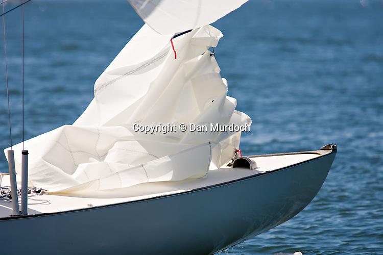 furled jib on Atlantic sailboat