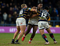Toronto Wolfpack's Gadwin Springer is tackled by Leeds Rhinos' Matt Prior and Rhyse Martin<br /> <br /> Photographer Alex Dodd/CameraSport<br /> <br /> Betfred Super League Round 6 - Leeds Rhinos v Toronto Wolfpack - Thursday 5th March 2020 - Headingley - Leeds<br /> <br /> World Copyright © 2020 CameraSport. All rights reserved. 43 Linden Ave. Countesthorpe. Leicester. England. LE8 5PG - Tel: +44 (0) 116 277 4147 - admin@camerasport.com - www.camerasport.com