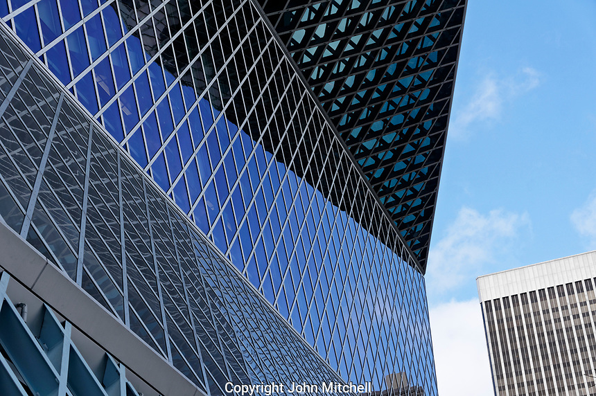 Architectural detail of the Seattle Central Library building exterior in downtown Seattle, Washington state, USA