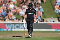 New Zealand's Colin Munro departs. New Zealand Blackcaps v England. One Day International Cricket. Seddon Park, Hamilton, New Zealand on Sunday 25 February 2018.<br /> <br /> Copyright photo: &copy; Bruce Lim / www.photosport.nz