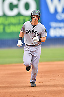 Augusta GreenJackets second baseman Shane Matheny (15) rounds the bases after hitting a home run during a game against the Asheville Tourists at McCormick Field on April 7, 2019 in Asheville, North Carolina. The GreenJackets  defeated the Tourists 11-2. (Tony Farlow/Four Seam Images)