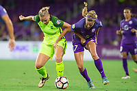 Orlando, FL - Thursday September 07, 2017: Merritt Mathias, Dani Weatherholt during a regular season National Women's Soccer League (NWSL) match between the Orlando Pride and the Seattle Reign FC at Orlando City Stadium.