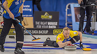 Glasgow. SCOTLAND. Sweden's Niklas EDIN,   &quot;Semi Final&quot; Game. Sweden vs Russia, at the Le Gruy&egrave;re European Curling Championships. 2016 Venue, Braehead  Scotland<br /> Thursday  24/11/2016<br /> <br /> [Mandatory Credit; Peter Spurrier/Intersport-images]