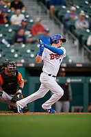 Buffalo Bisons Reese McGuire (7) at bat during an International League game against the Norfolk Tides on June 21, 2019 at Sahlen Field in Buffalo, New York.  Buffalo defeated Norfolk 2-1, the first game of a doubleheader.  (Mike Janes/Four Seam Images)