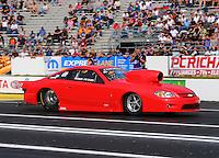 Jun 5, 2015; Englishtown, NJ, USA; NHRA pro stock driver Randy Peters during qualifying for the Summernationals at Old Bridge Township Raceway Park. Mandatory Credit: Mark J. Rebilas-