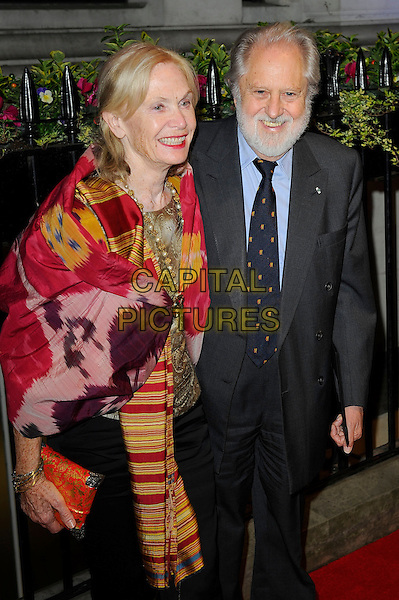 Patsy Puttnam &amp; David Puttnam <br /> attending the BFI Luminous Gala Dinner, 8 Northumberland Avenue, London, England. <br /> 8th October 2013<br /> half length red shawl print black suit beard facial hair blue shirt married husband wife <br /> CAP/MAR<br /> &copy; Martin Harris/Capital Pictures