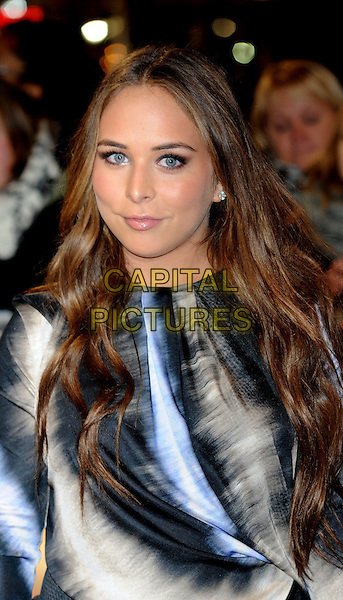 Chloe Green .arriving at the UK premiere for 'The Twilight Saga: Breaking Dawn - Part One' at the Westfield East Shopping Centre, Stratford City, London, UK,.16th November 2011..portrait headshot black blue tie dye print  grey gray .CAP/WIZ.© Wizard/Capital Pictures.
