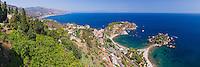 Panoramic photo of the Sicilian Coast and Isola Bella Beach seen from Taormina, Sicily, Italy, Europe. This is a panoramic photo of the Sicilian Coast and Isola Bella Beach seen from Taormina, Sicily, Italy, Europe.