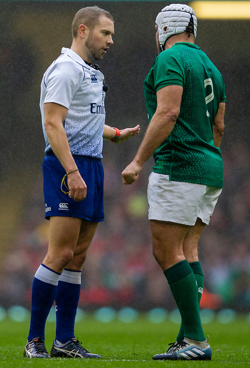 Referee Angus Gardner talks to Ireland's Rory Best<br /> <br /> Photographer Bob Bradford/CameraSport<br /> <br /> Guinness Six Nations Championship - Wales v Ireland - Saturday 16th March 2019 - Principality Stadium - Cardiff<br /> <br /> World Copyright © 2019 CameraSport. All rights reserved. 43 Linden Ave. Countesthorpe. Leicester. England. LE8 5PG - Tel: +44 (0) 116 277 4147 - admin@camerasport.com - www.camerasport.com
