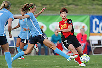 Piscataway, NJ, Saturday May 7, 2016.  Sky Blue FC midfielder Sarah Killion (16) stretches to try to block a pass by Western New York Flash midfielder Ga Eul Jeon (7).  The Western New York Flash defeated Sky Blue FC, 2-1, in a National Women's Soccer League (NWSL) match at Yurcak Field.