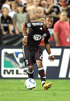 Rodney Wallace #22 of D.C. United makes a pass during an MLS match against the New England Revolution on April 3 2010, at RFK Stadium in Washington D.C.