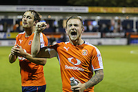 Jack Marriott of Luton Town shows his delight at the final whistle after the Sky Bet League 2 match between Luton Town and Newport County at Kenilworth Road, Luton, England on 16 August 2016. Photo by David Horn.