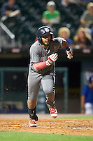 Lehigh Valley IronPigs second baseman Jesmuel Valentin (7) runs to first base during a game against the Buffalo Bisons on August 29, 2016 at Coca-Cola Field in Buffalo, New York.  Buffalo defeated Lehigh Valley 3-2.  (Mike Janes/Four Seam Images)