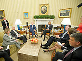 United States President Barcak Obama and US Vice President receive an update on the investigation into the attack in Orlando, Florida from (left to right) Assistant to the President for Homeland Security and Counterterrorism and Deputy National Security Advisor Lisa Monaco, US Secretary for Homeland Security Jeh Johnson, VP Biden, President Obama, Federal Bureau of Investigation (FBI) Director James Comey, Deputy Attorney General Sally Q. Yates, and National Counterterrorism Center (NCTC) Director Nicholas J. Rasmussen in the Oval Office of the White House in Washington, DC on Monday, June 13, 2016. <br /> Credit: Ron Sachs / Pool via CNP