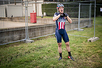 Katie Compton (USA/KFC Racing p/b Trek/Panache) post-race<br /> <br /> Women's Race<br /> UCI cyclocross WorldCup - Koksijde (Belgium)<br /> <br /> ©kramon