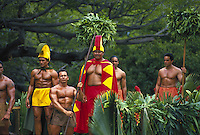 Kamehameha day parade float with royal court, Oahu