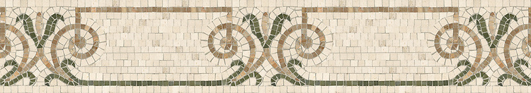 """7 1/8"""" Winchester border, a hand-cut stone mosaic, shown in honed Ivory Cream, polished Botticino, and Verde Luna."""