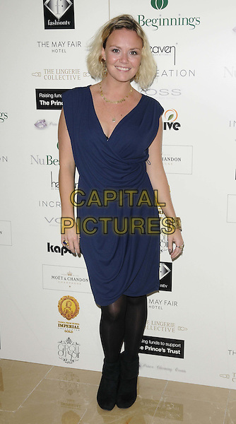 Charlie Brooks.The Prince Charming Valentines Ball, Mayfair hotel, Stratton St., London, England..February 14th, 2012.full length black tights blue dress sleeveless .CAP/CAN.©Can Nguyen/Capital Pictures.