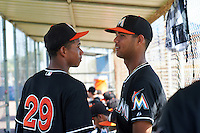 GCL Marlins Obed Diaz (29) and Aneury Osoria (10) in the dugout during the first game of a doubleheader against the GCL Mets on July 24, 2015 at the St. Lucie Sports Complex in St. Lucie, Florida.  GCL Marlins defeated the GCL Mets 5-4.  (Mike Janes/Four Seam Images)