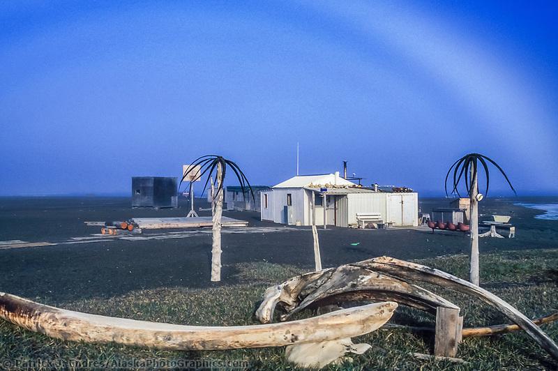 Fog bow over summer camp, Bowhead Whale jaw bone, Point Utqiagvik (Barrow), Arctic, Alaska