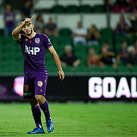 7th February 2020; HBF Park, Perth, Western Australia, Australia; A League Football, Perth Glory versus Wellington Phoenix; Nicholas D'Agostino of the Perth Glory celebrates scoring in extra time to give Perth Glory a 2-0 lead