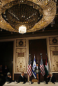 New York, NY - September 22, 2009 -- United States President Barack Obama speaks at a trilateral meeting with Israeli Prime Minister Benjamin Netanyahu (2nd L) and Palestinian President Mahmoud Abbas (R) at the Waldorf Astoria Hotel in New York City on Tuesday, September 22, 2009.    .Credit: John Angelillo / Pool via CNP
