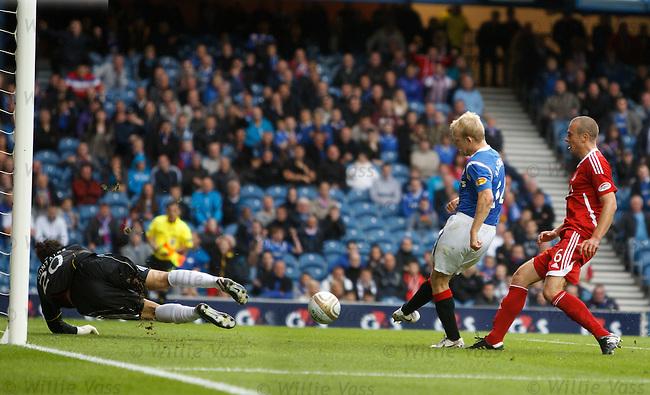 Steven Naismith knocks the rebound past David Gonzalez to score goal no 2 for Rangers